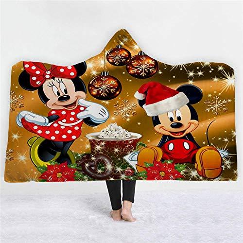 CCYK Mickey Minnie Decke mit Kapuze Decke Kinder Flanell Plüsch Quilt BettwäscheWeihnachtsschmuck für zu Hause Decken für Betten, 3.130x150 cm