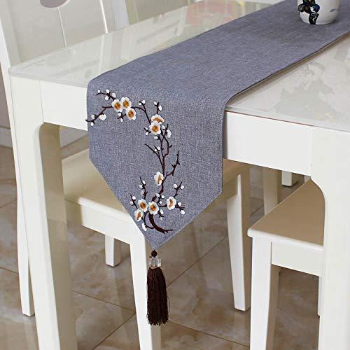 OLOEY Camino de Mesa paño algodón Lino Color sólido decoración de Mesa Simple Camino de Mesa 30 * 190 cm Gris