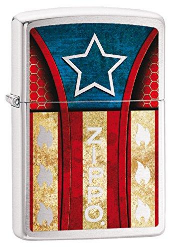 Zippo Vintage America-Chrome Brushed-Spring 2017 Feuerzeug, Silber, 5.8 x 3.8 x 2 cm