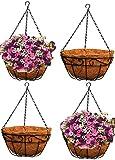 Ashman Metal Hanging Planter Basket with Coco Coir Liner Round Wire Plant Holder Chain Porch Decor Flower Pots Hanger Garden Decoration Indoor Outdoor Watering Hanging Baskets (4)