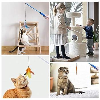 Toozey Jouet pour chat avec 2 tiges rétractables interactives et 13 plumes/insectes/poisson de rechange avec clochettes, jouets suspendus à plumes avec sac de rangement