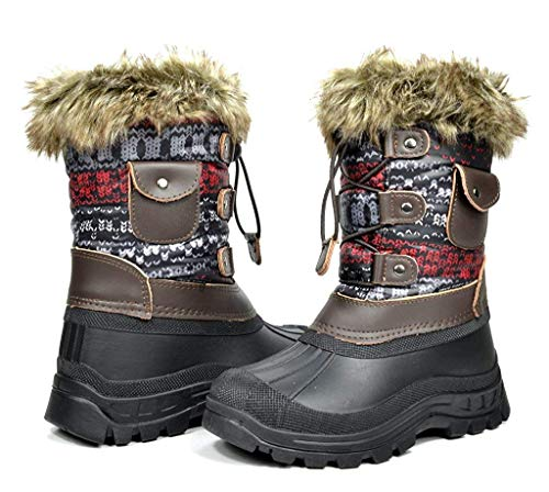DREAM PAIRS Toddler Ksnow Brown Multi Isulated Waterproof Snow Boots - 9 M US Toddler