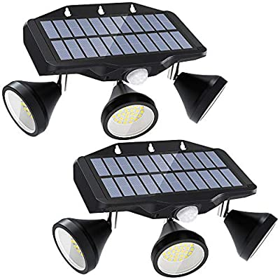 Onforu LED Solar Motion Sensor Light Outdoor, 2000LM 3000mAh Security Lights Solar Powered with 3 Adjustable Heads, Solar Flood Light with 3 Modes, IP65 Waterproof Solar Wall Light for Yard Pathway