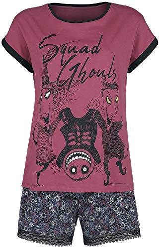 The Nightmare Before Christmas Pesadilla Antes De Navidad Squad Ghouls Mujer Pijama Rojo/Negro XL, 100% algodón, mit Spitze