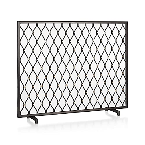 HMBB Fireplace Screens Panel Spark Guard,Iron Fireplace Screen Panel,Spark Flame Barrier with Hollow-carved Design,Metal Mesh Safety Fire Place Guard for Wood