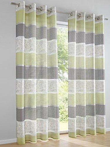 Dekostore, Farbe Grün, 1 Stück, Heine Home, 622 - Gardinen, Größe: ca. H/B: 175x140 cm, mit Ösen