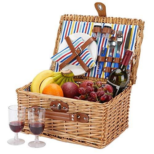 Cesta de picnic de mimbre para 2, juegos de cestas de mimbre, cesta de picnic hecha a mano para 2 personas con utensilios, cubiertos, perfecta para picnic, acampada con rayas de color