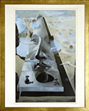 Apparition of the Face of Aphrodite by Salvador Dali. Framed Art Print Poster. Custom Made Real Wood Modern Scratched Gold Frame (17 1/8 x 21 1/8)