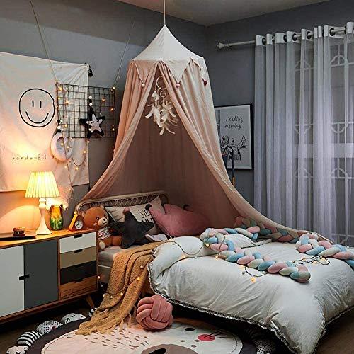 AMZLL Cortinas de cama con toldo redondo para cama infantil, diseño de princesa y príncipe, color rosa