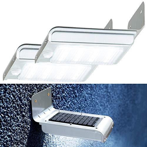 Luminea Solar LED-Aussenlampe: 2er-Set Edelstahl-LED-Solar-Wandleuchten, Licht- & Bewegungssensor (LED Solar Außenbeleuchtung)