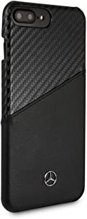 CG Mobile Mercedes Benz PU Leather Case for iPhone 8 Plus and iPhone 7 Plus Hard Cell Phone Cover Carbon FiberInspired Design Black Easy Snap-on Shock Absorption Cover Officially Licensed.