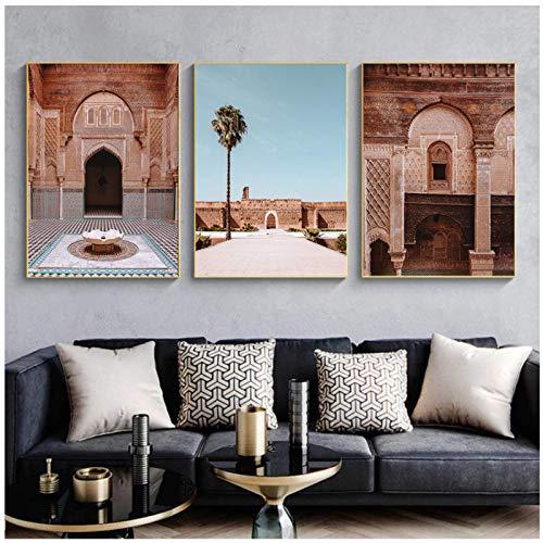 XuFan Arte de la Pared de la Puerta marroquí Marrakech Caligrafía árabe Lienzo Jadeando Arquitectura islámica Póster Impresión de Cuadros de Pared Decoración-24X32 Pulgadas 3 Piezas Sin Marco
