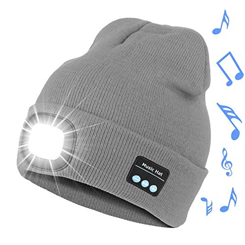 Bosttor Bluetooth Beanie Hat with Light, Upgraded Musical Knitted Cap with Headphone and Built-in Stereo Speakers & Mic, LED Hat for Running Hiking, Unisex Christmas Gifts for Men Women Teens, Grey