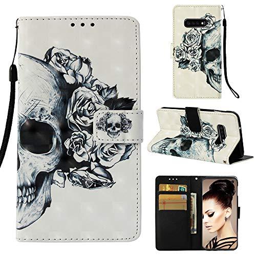 CoverKingz Handyhülle für Samsung Galaxy S10e - Handytasche mit Kartenfach Galaxy S10e Cover - Handy Hülle klappbar Motiv Totenkopf