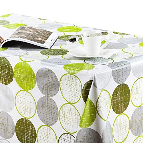 Wachstuchtischde Weiß Tischdecke mit Modernem Kreismuster Muster - Grün Grau und Silber - Rechteckige Tische 250 x 140 cm - Abwischbare Wachstuch PVC-Tischtuch Schweres, Wasserdichtes - Pflegeleicht
