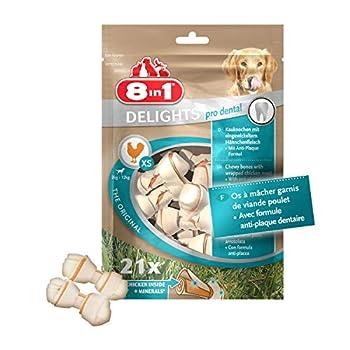 8 in 1 Delights Dental XS - Os de bœuf à Mâcher pour Chien de Petite Taille - Enrichi en minéraux - Viande à cœur - Prodental Limite le Tartre - Sans céréales Colorant Arôme Artificiel - 21 pièces