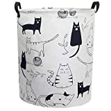 ESSME Large Storage Bin,Canvas Fabric Storage Baskets with Handles,Collaspible Laundry Hamper for Household,Gift Baskets,Toy Organizer (Kitty)