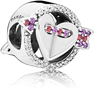 Sparkling Arrow and Heart Silver One Size Charm 797827CZMX