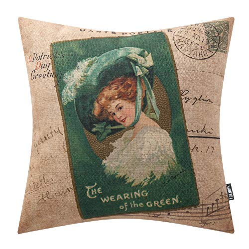 TRENDIN Saint Patrick Day Decoration Pillow Cover 20x20 inch Spring Decorative Couch Pillow Cases Cotton Linen Green Lady PL414TR20