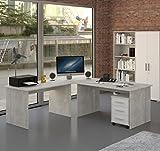 Möbel Pracht Eckschreibtisch Schreibtisch Büromöbel mit Rollcontainer - 4 teilig in Beton...