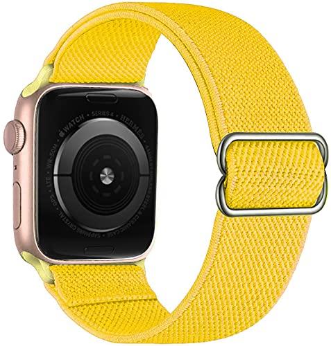 Hspcam Correa para Apple Watch Band 44 mm, 40 mm, 38 mm, 42 mm, nailon elástico ajustable, para pulseras iWatch Series 3, 4, 5, 6 Se (38 mm o 40 mm), amarillo)