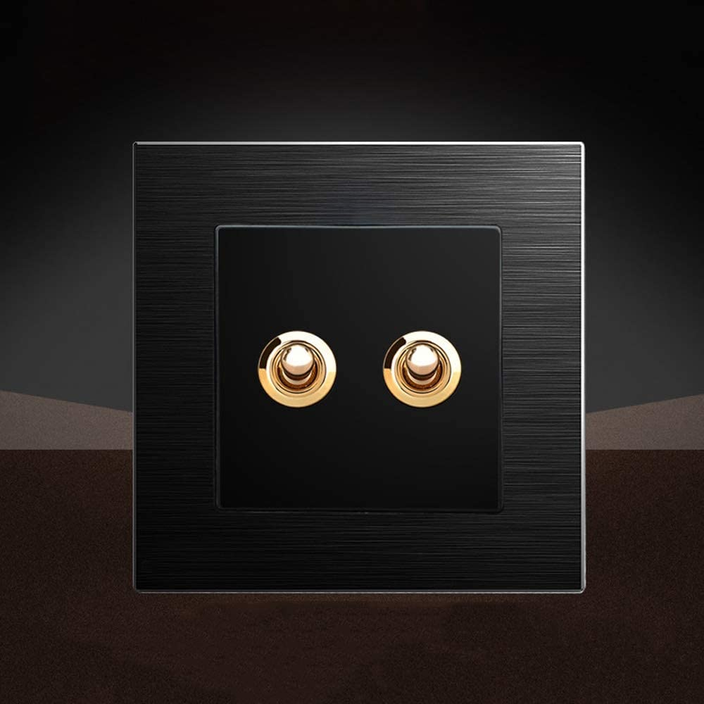 Ploutne Interruptor Negro Mate 86 Tipo de Palanca Dual Control de 2 v/ías Oculta del Interruptor el/éctrico Interruptor Ligero de la Pared del hogar Retro Interruptor de Acero n/órdico Minimalista Panel