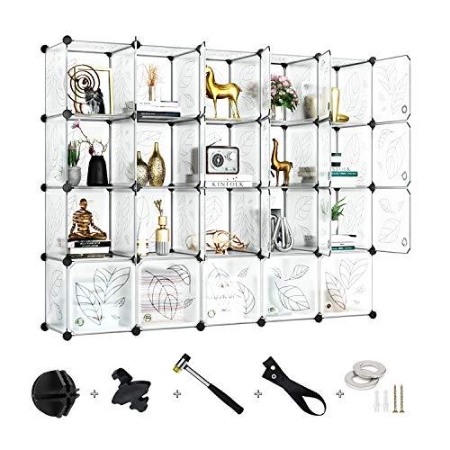 Greenstell Armadietto Modulare a 20 Cubi con Ante, Armadio a Cubi Componibile in Plastica Fai-da-Te Guardaroba Modulare per Libri,Vestiti,Giocattoli, Opere d'Arte,Decorazioni (Bianco)