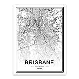 JYWDZSH Leinwanddruck Schwarz-Weiß-Weltstadtplan Brisbane