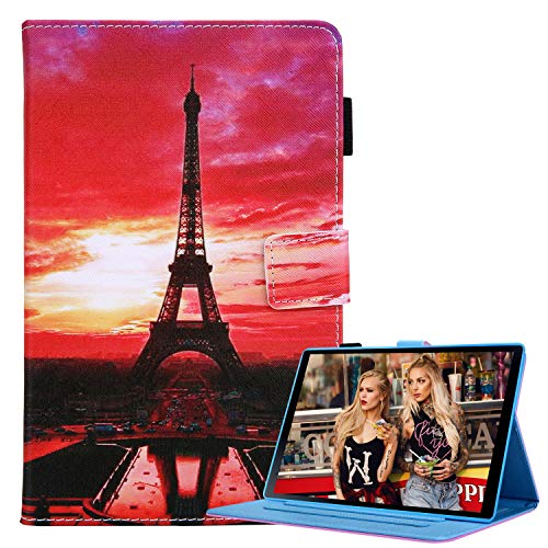 Case for Samsung Galaxy Tab A 10.1' 2019 (SM-T510/SM-T515/SM-T517), PU Leather Slim Flip Folio Wallet Case Full Body Shockproof Protection Smart Cover with Stand and Auto Wake/Sleep, Iron Tower