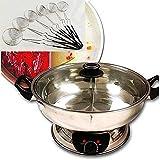 Bonus Package Sonya Shabu Shabu Hot Pot Electric Mongolian Hot Pot W/DIVIDER with 6 spoons