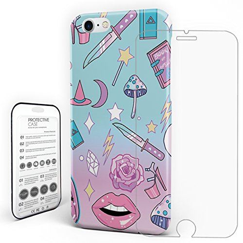 Protective Slim Phone Case Girly Pastel Goth Witch Pattern Slim Hard Back Phone Cover with Tempered Glass Screen Protector for iPhone7 iPhone8 Cover