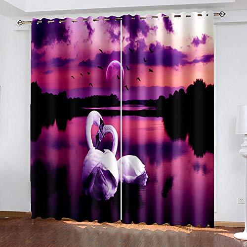 Cortina 3D Dormitorio Enjambre De Mariposas De Color Cortinas Súper Suave para Dormitorio Salón Habitación con Ojales 2 Piezas Cortinas Infantiles.