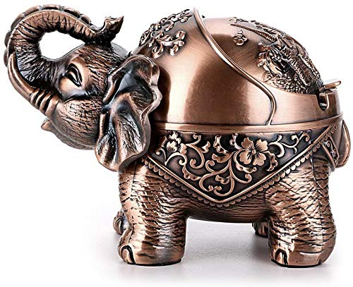LYQZ Cigarrillos a Prueba de Viento Elefante Cenicero Cenicero Escritorio del Metal de Soporte con la Tapa Personalidad (Color : Red Copper)