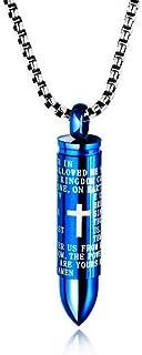 آویز گلوله LIANTSH Lord's Prayer Cross Bullet Stainless Steel Lords Bible Cross Prayer Cremation Ashes Urn گردنبند ، زنجیره آزاد