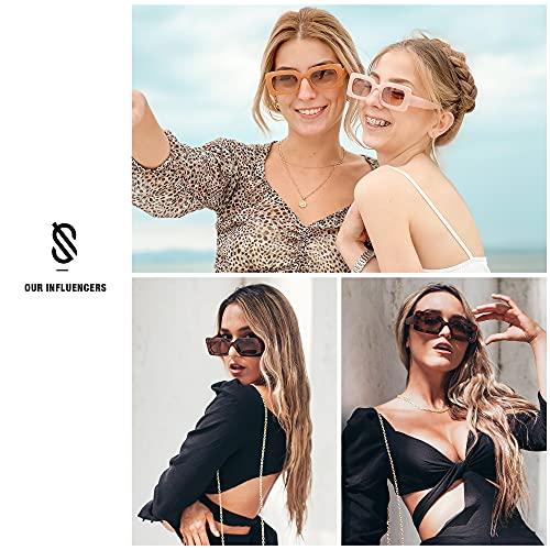 SOJOS Retro 90s Nude Rectangle Sunglasses For Women Trendy Chunky Glasses Beige Frame Brown Lens