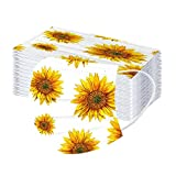 Lulupi 50 Stück Blumen Bedruckte Mundschutz Einweg Erwachsene Mund Nasenschutz mit Motiv Sonnenblume Staubschutz Mundbedeckung Halstuch Atmungsaktive Multifunktionstuch Maske Bandana Schals