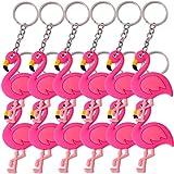 TE-Trend 12 Stück Schlüsselanhänger Anhänger Flamingo Deko Vogel Wasservogel Kette Ring Keychain Rainbow Mädchen Geburtstag Mitgebsel