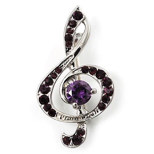 Avalaya Silver Tone Crystal Music Treble Clef Brooch (Violet)