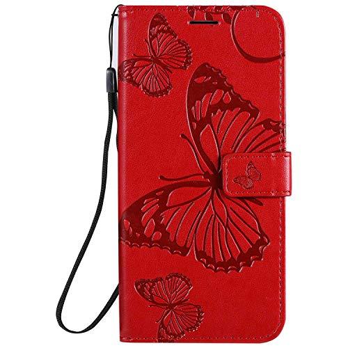 DENDICO Cover Xiaomi Redmi Note 9 / Redmi 10X 4G, Pelle Portafoglio Custodia per Xiaomi Redmi Note 9 / Redmi 10X 4G Custodia a Libro con Funzione di appoggio e Porta Carte di Credito - Rosso