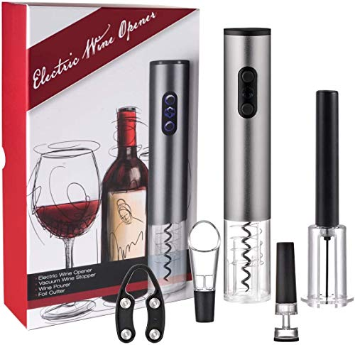 5 Pcs Electronic Automatic Wine Bottle Opener + Wine Opener Air Pressure + Foil Cutter + Wine Aerator Pourer + Wine Vacuum Stopper, Electric Corkscrew for Home, Party, No Cork Pieces Float in Bottle