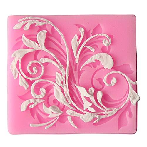 1 molde de silicona con diseño de hojas y flores para galletas, pasta de dulces, fondant, decoración de tartas