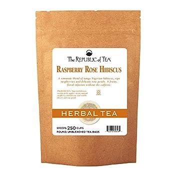 The Republic of Tea Raspberry Rose Hibiscus Tea 250 Tea Bags Caffeine-Free Herbal Tea
