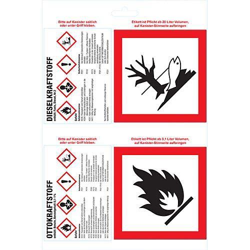 BigDean 6 Gefahrstoff-Aufkleber DIN A4-Bogen Gefahrgut-Kennzeichnung für Kanister GHS-Verordnung Diesel & Ottokraftstoff