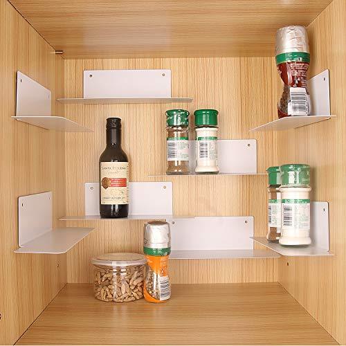 BasicForm Especiero Organizador Apilable, 2 Opciones de Instalación Bandas/Tornillos, Estantes de Metal para el Gabinete de la Cocina (Paquete de 8 Blanco)