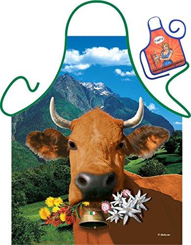 Italienische braune Kuh - Lustige Fun Schürze zur Party und Mini für die Flasche