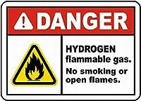 Danger Hydrogen Flammable Gas 金属板ブリキ看板警告サイン注意サイン表示パネル情報サイン金属安全サイン