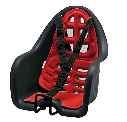 Onogal 3628 Kindersitz für Fahrrad, Befestigung am Lenker, für den Straßenverkehr zugelassen, für Kinder bis zu 15kg, Schwarz / Rot
