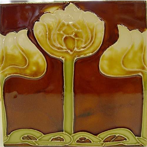 10 Stück Keramik Fliesen Jugendstil 15,2 x 15,2 cm rot Retro