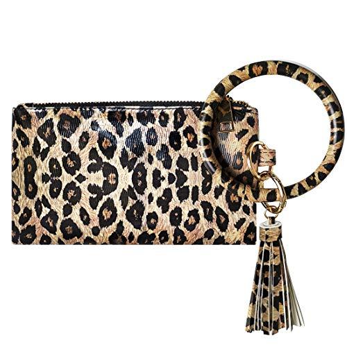 hatisan - Cartera de Mano con asa para Mujer Leopardo Caqui