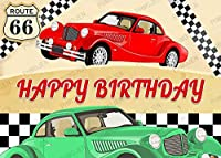 HD漫画車の誕生日の背景写真10x7FTヴィンテージルート66画像モーテル車の道路写真背景パーティー壁紙部屋壁画小道具BJLSPH276
